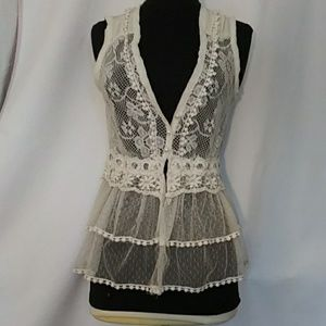 Wet Seal Crocheted and Lace Boho vest